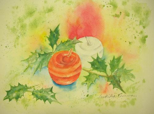 212 オレンジと白のキャンドルと柊