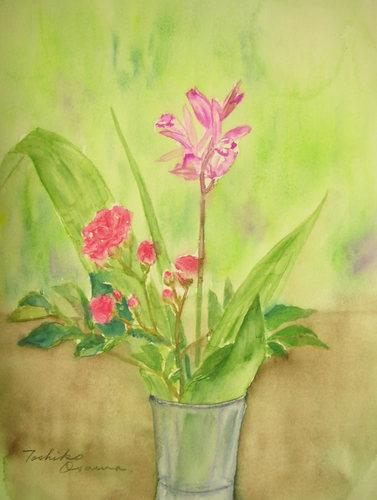 236 紫蘭とミニ薔薇